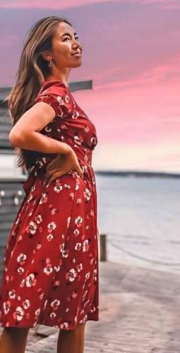 Timeless London Burgundy Floral Wrap Katelyn Midi Dress