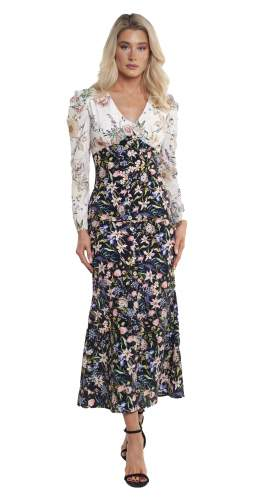 Never Fully Dressed Contrast Floral Button Detail Dress