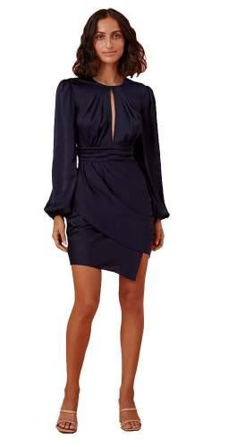 Finders Keepers Navy Gabriella Mini Dress