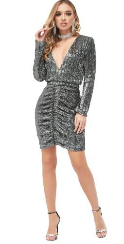 Lavish Alice Ruched Sequin Mini Dress In Grey Sequin