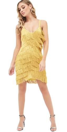 Lavish Alice Chevron Fringe Mini Dress In Acid Yellow