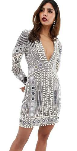 ASOS EDITION Disc And Pearl Mini Dress