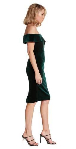 Bardot Bella Velvet Dark Green Dress