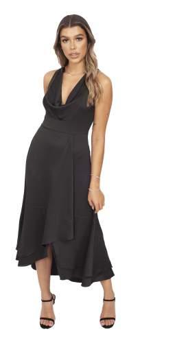 French Connection Black Satin Cowl Neck Midi Dress