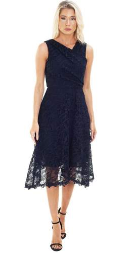 Reiss Navy Lace Wrap Midi Dress