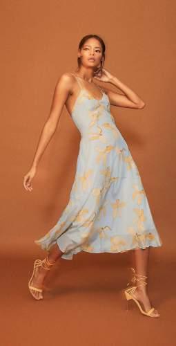 Reiss Floral Print Blue Midi Dress