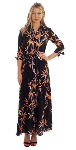 Dancing Leopard Navy Maxi dress With Front Split