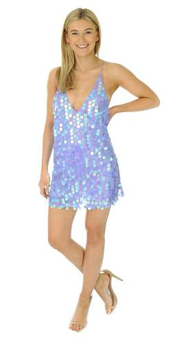 Motel Purple Finn Sequin Mini Dress