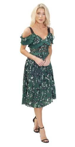 Floral Print Green Midi Dress
