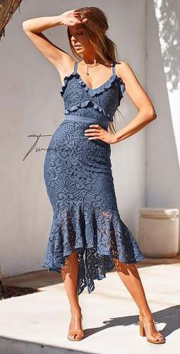 TwoSisters The Label Leanne Dress In Steel Blue