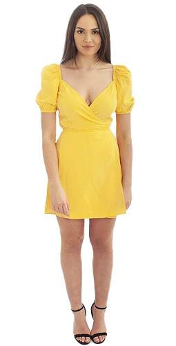 Seven Wonders Yellow Off The Shoulder Wrap Dress