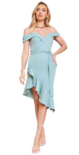 Lavish Alice Sage Green Asymmetric Bardot Wrap Ruffle Dress