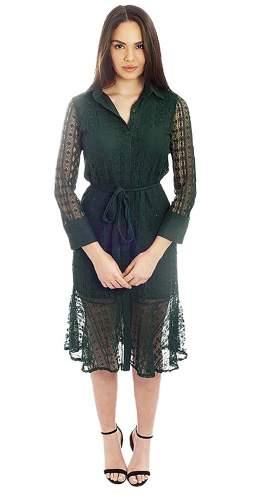 Long Sleeved Green Lace Midi Dress