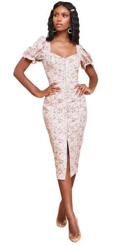 Lavish Alice Beige Floral Underwire Corset Puff Sleeve Midi Dress