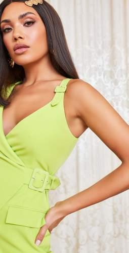 Lavish Alice Lime Buckle Detail Mini Blazer Dress