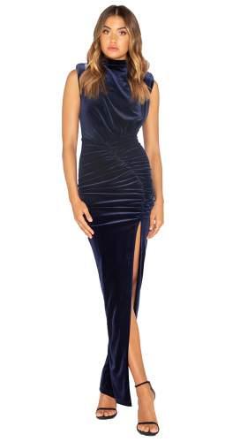 Bianca & Bridgett Navy Lauren Maxi Thigh Split Velvet Dress
