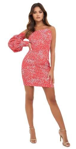 Lavish Alice Coral Floral One Balloon Sleeve Mini Dress