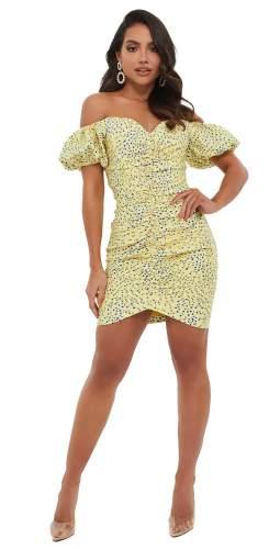 Lavish Alice Yellow Floral Off Shoulder Puff Sleeve Mini Dress