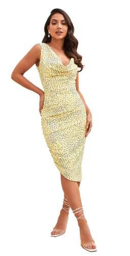 Lavish Alice Yellow Floral Cowl Neck Asymmetric Midi Dress