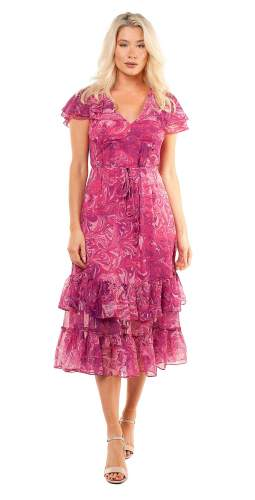 French Connection Very Berry Endra Crinkle Printed Dress