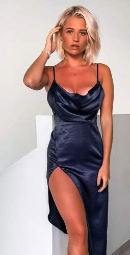 LEXI Carmen Dress In Navy