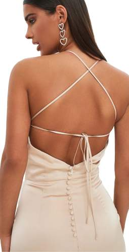 Lavish Alice Champagne Satin Asymmetric Button Back Midi Dress