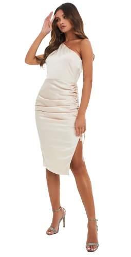 Lavish Alice Stone Satin One Shoulder Ruched Side Midi Dress