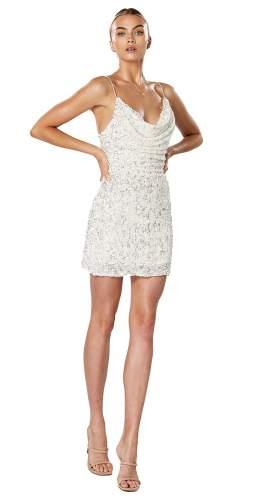 Winona White Synergy Cowl Neck Dress
