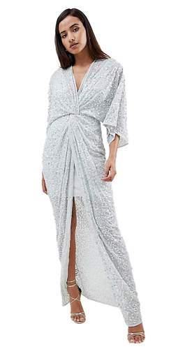 ASOS DESIGN Scatter Sequin Knot Front Kimono Maxi Dress