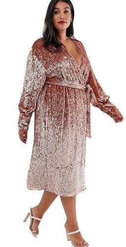 ASOS EDITION CURVE Sequin Wrap Midi Dress