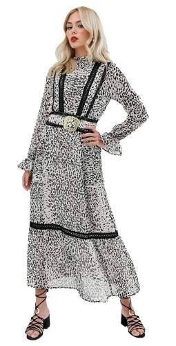ASOS DESIGN Lace Insert Maxi Dress With Buckle Belt In Leopard Print