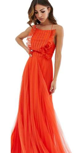 ASOS DESIGN Lace Top Ruffle Strappy Back Maxi Dress