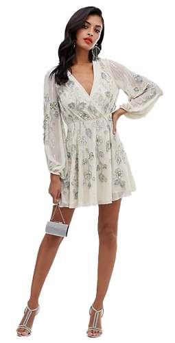 ASOS DESIGN Wrap Mini Dress With Skater Skirt In Leaf And Floral Embellishment