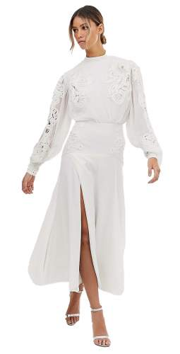 ASOS EDITION Delicate Embroidered Midi Dress With Blouson Sleeve
