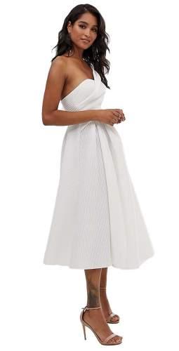 ASOS DESIGN Self Stripe One Shoulder Fold Detail Prom Midi Dress