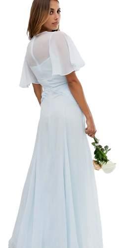 ASOS DESIGN BRIDESMAID Flutter Sleeve Maxi Dress With Pleated Waist