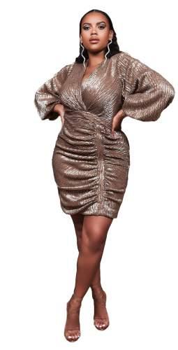 Lavish Alice Curve Gold Balloon Sleeve Pleated Sequin Mini Dress