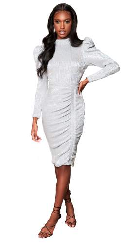Lavish Alice Silver Open Back Sequin Midi Dress With Bow Detail