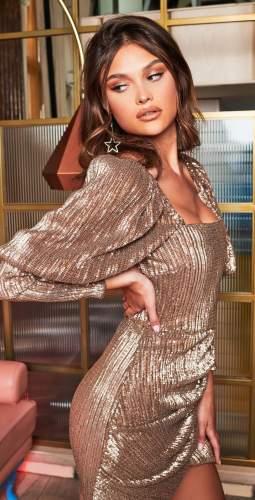 Lavish Alice Gold Puff Sleeve Pleated Sequin Mini Dress