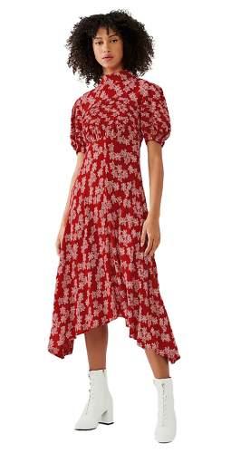 Ghost Red Floral Jenna Midi Dress