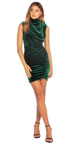 Bianca & Bridgett Emerald Natalia Short Velvet Dress