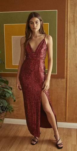 Saylor Wine Gillian Dress