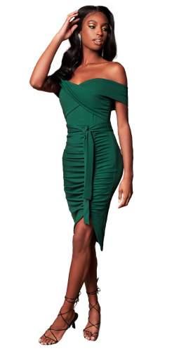 Lavish Alice Forest Green Bardot Ruched Side Midi Dress