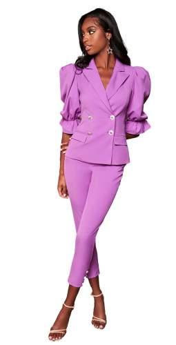 Lavish Alice Purple Balloon Sleeve Blazer And Corset Waist Trousers