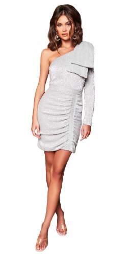 Lavish Alice Silver One Sleeve Bow Shoulder Sequin Mini Dress