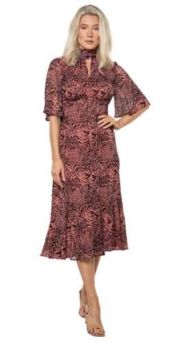 Whistles Desert Zebra Print Midi Dress