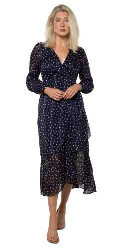 Whistles Satin Stripe Spot Wrap Dress