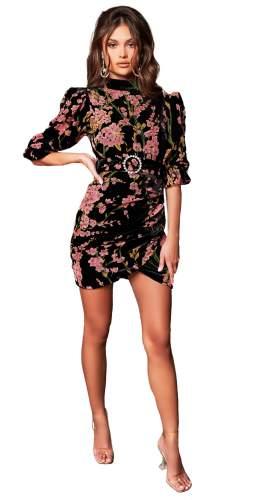 Lavish Alice Black Floral Velvet Devore Balloon Sleeve Mini Dress