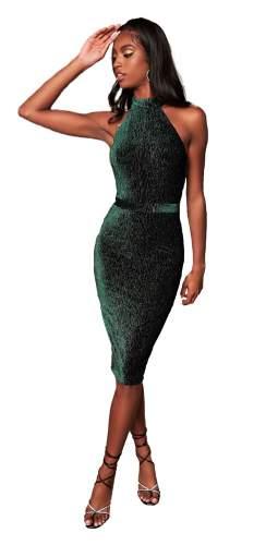 Lavish Alice Forest Green Diamante Velvet Tie Back Midi Dress