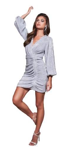 Lavish Alice Silver Balloon Sleeve Pleated Sequin Mini Dress